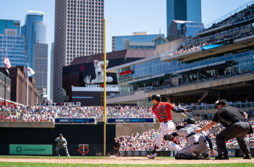 MINNEAPOLIS, MN - JUNE 13: A general view as Jason Castro #15 of the Minnesota Twins bats against the Seattle Mariners on June 13, 2019 at the Target Field in Minneapolis, Minnesota. The Twins defeated the Mariners 10-5. (Photo by Brace Hemmelgarn/Minnesota Twins/Getty Images)