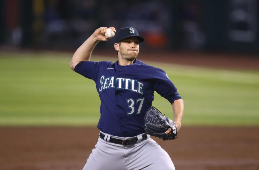 Sep 13, 2020; Phoenix, Arizona, USA; Seattle Mariners pitcher Casey Sadler against the Arizona Diamondbacks. Mandatory Credit: Mark J. Rebilas-USA TODAY Sports