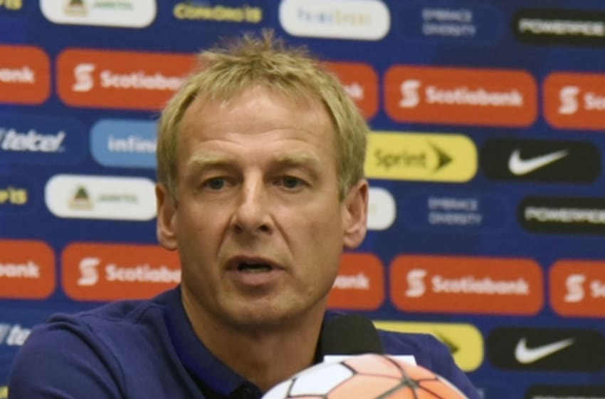 Jul 22, 2015; Atlanta, GA, USA; United States head coach Jurgen Klinsmann addresses the media following their 2-1 loss to Jamaica during the CONCACAF Gold Cup semifinal match at Georgia Dome. Mandatory Credit: Dale Zanine-USA TODAY Sports