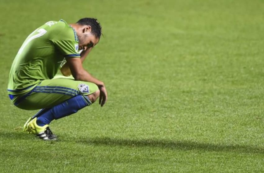 Jul 11, 2015; Chicago, IL, USA; Seattle Sounders FC midfielder/forward Lamar Neagle (27) reacts after the game against the Chicago Fire at Toyota Park. Chicago Fire defeat the Seattle Sounders FC 1-0. Mandatory Credit: Mike DiNovo-USA TODAY Sports