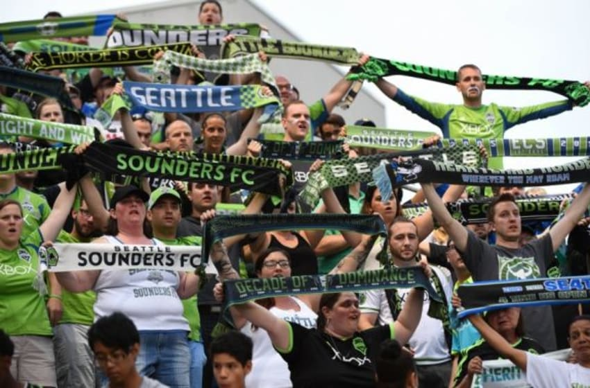 Jul 11, 2015; Chicago, IL, USA; Seattle Sounders FC fans during the first half at Toyota Park. Mandatory Credit: Mike DiNovo-USA TODAY Sports