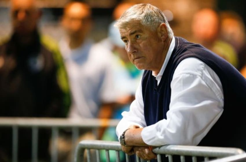 Jun 16, 2015; Tukwila, WA, USA; Seattle Sounders FC head coach Sigi Schmid watches the end of a game against the Portland Timbers from the sidelines during the second half of overtime at Starfire Sports Complex. Mandatory Credit: Jennifer Buchanan-USA TODAY Sports