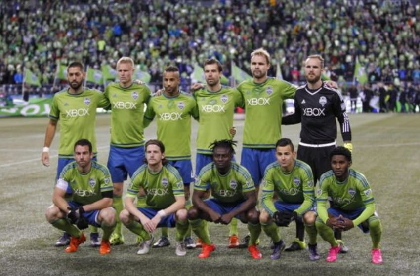 Nov 1, 2015; Seattle, WA, USA; Seattle Sounders FC starters pose for a group photo before kickoff against the FC Dallas at CenturyLink Field. Seattle defeated Dallas, 2-1. Mandatory Credit: Joe Nicholson-USA TODAY Sports