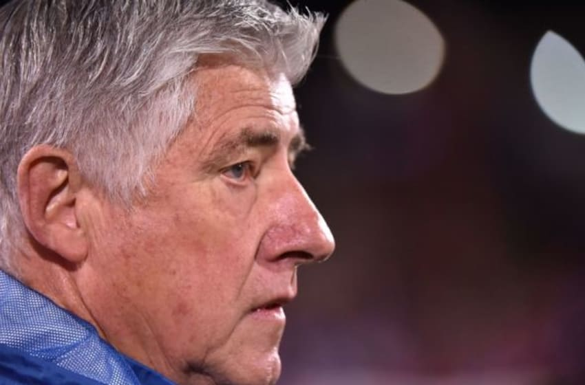 Nov 8, 2015; Dallas, TX, USA; Seattle Sounders FC head coach Sigi Schmid looks on before the match between the FC Dallas and the Seattle Sounders FC in the MLS Playoffs at Toyota Stadium. Mandatory Credit: Jasen Vinlove-USA TODAY Sports