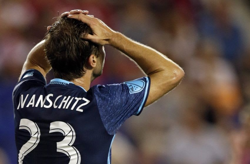 Jun 19, 2016; Harrison, NJ, USA; Seattle Sounders forward Andreas Ivanschitz (23) reacts to missing a shot against the New York Red Bulls during the second half at Red Bull Arena. Mandatory Credit: Adam Hunger-USA TODAY Sports