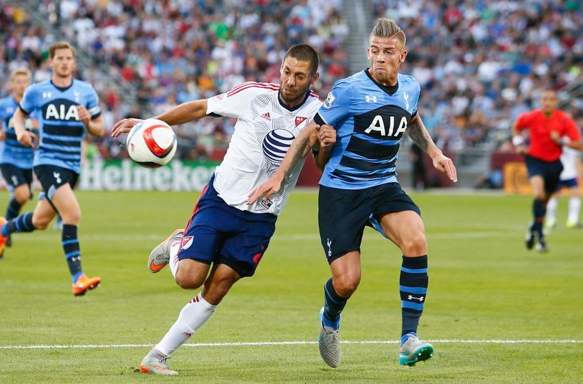 Jul 29, 2015; Denver, CO, USA; MLS All Stars forward Clint Dempsey (2) of the Seattle Sounders FC and Tottenham Hotspur defender Toby Alderweireld (4) battle for the ball during the first half of the 2015 MLS All Star Game at Dick