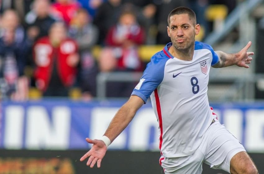 Mar 29, 2016; Columbus, OH, USA; United States forward Clint Dempsey (8) celebrates after scoring a goal in the first half against Guatemala during the semifinal round of the 2018 FIFA World Cup qualifying soccer tournament at MAPFRE Stadium. Mandatory Credit: Trevor Ruszkowski-USA TODAY Sports