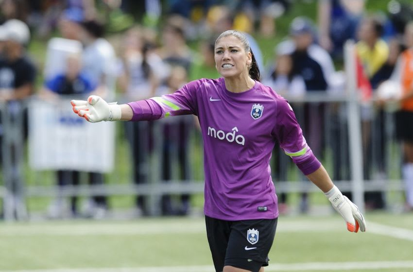 Aug 31, 2014; Tukwila, WA, USA; Seattle Reign FC goalkeeper Hope Solo (1) during the game against the FC Kansas City at Starfire Soccer Stadium. Kansas City defeated Seattle 2-1. Mandatory Credit: Steven Bisig-USA TODAY Sports