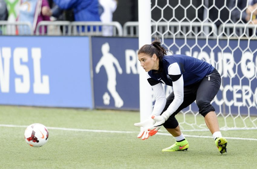 Aug 31, 2014; Tukwila, WA, USA; Seattle Reign FC goalkeeper Hope Solo (1) during pre game warm ups prior to the game against the FC Kansas City at Starfire Soccer Stadium. Mandatory Credit: Steven Bisig-USA TODAY Sports