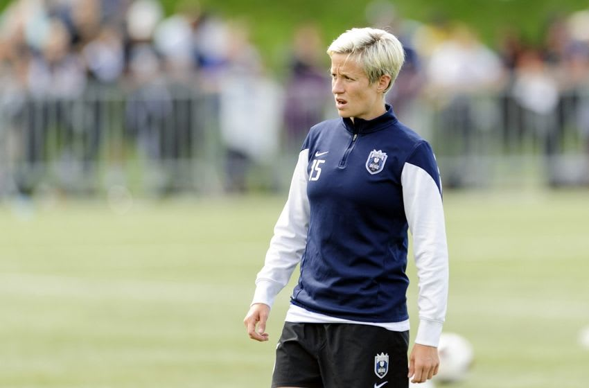 Aug 31, 2014; Tukwila, WA, USA; Seattle Reign FC forward Megan Rapinoe (15) during pre game warm ups prior to the game against the FC Kansas City at Starfire Soccer Stadium. Mandatory Credit: Steven Bisig-USA TODAY Sports