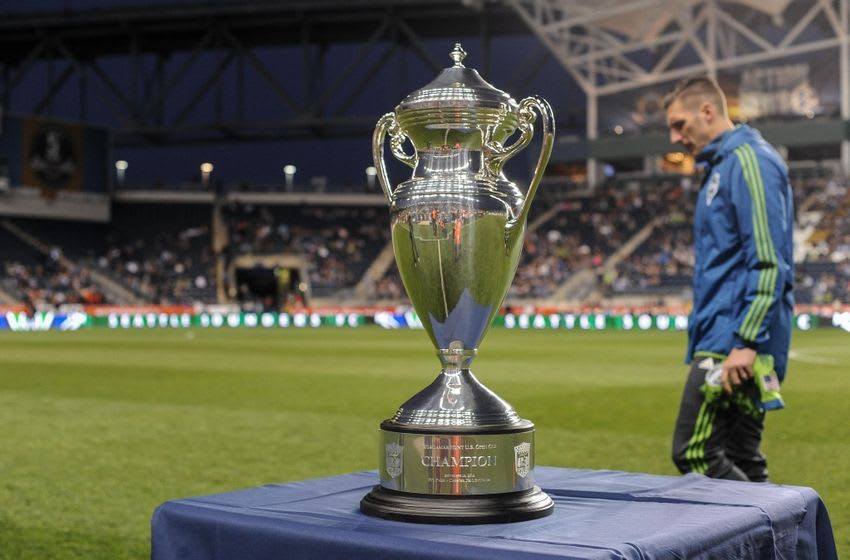 Sep 16, 2014; Chester, PA, USA; 2014 Lamar Hunt U.S. Open Cup before the start of the U.S. Open Cup final between the Philadelphia Union and the Seattle Sounders FC at PPL Park. Mandatory Credit: John Geliebter-USA TODAY Sports