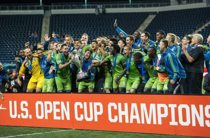 Sep 16, 2014; Chester, PA, USA; Seattle Sounders FC celebrate wining the Lamar Hunt US Open Cup after the final against the Philadelphia Union at PPL Park. The Seattle Sounders FC won the match 3-1. Mandatory Credit: John Geliebter-USA TODAY Sports