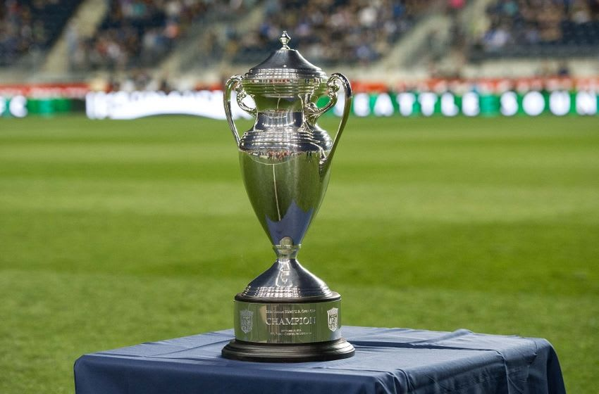 Sep 16, 2014; Chester, PA, USA; The US Open Cup before the start of the U.S. Open Cup final between the Philadelphia Union and the Seattle Sounders FC at PPL Park. Mandatory Credit: John Geliebter-USA TODAY Sports