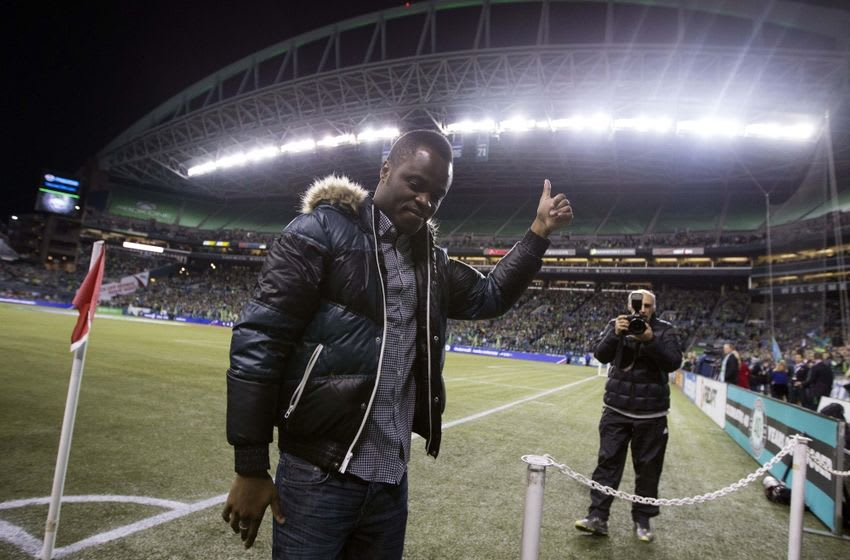 Nov 10, 2014; Seattle, WA, USA; Former Seattle Sounder FC player Steve Zakuani give a thumbs up before a game against FC Dallas at CenturyLink Field. Mandatory Credit: Joe Nicholson-USA TODAY Sports