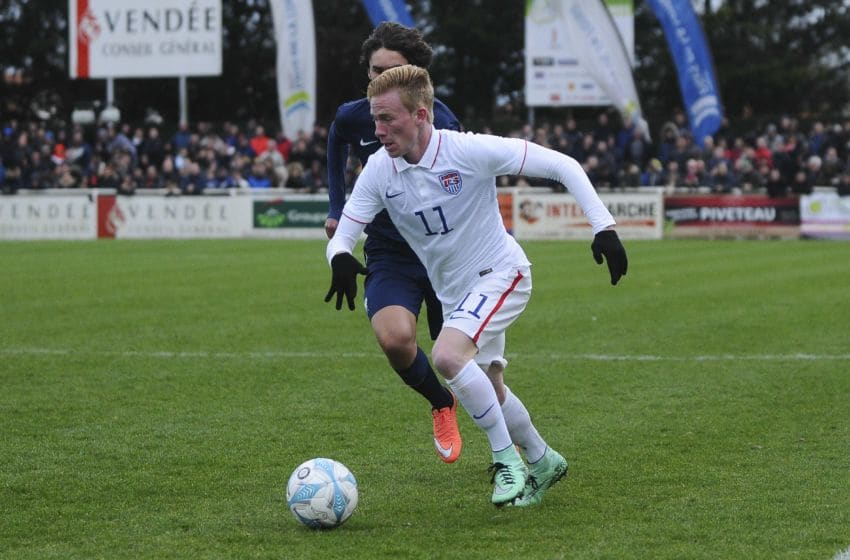 Andrew Carleton during the U16 Mondial football final match between France U16 and USA U16 on March 28, 2016 in Montaigu, France. (Photo by Icon Sport via Getty Images) (Photo by Icon Sport/Icon Sport via Getty Images)
