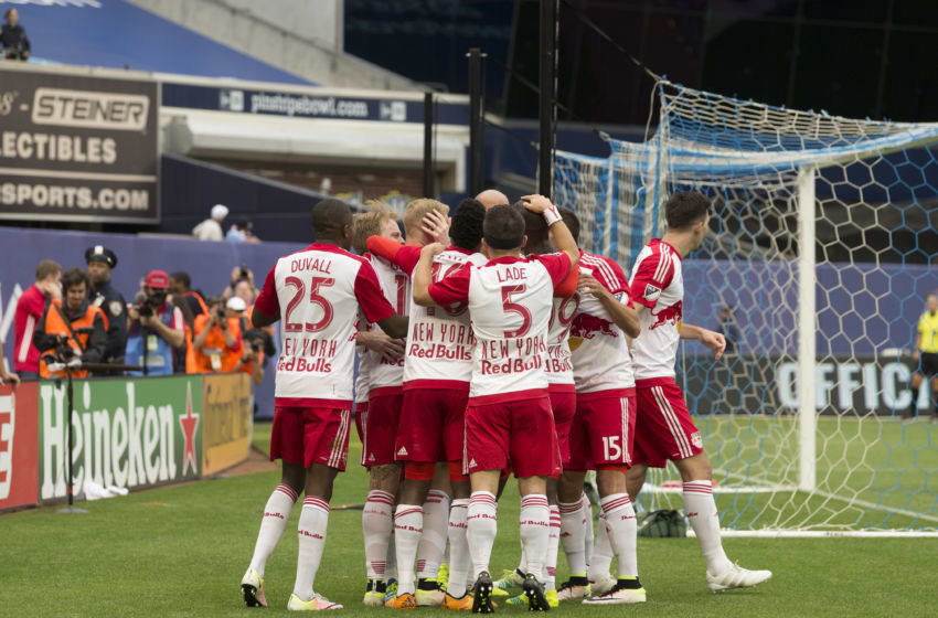 YANKEE STADIUM, NEW YORK, UNITED STATES - 2016/05/21: Red Bulls team celebrates goal by Bradley Wright-Phillips (99) at MLS game NYC FC against Red Bulls at Yankee stadium. Red Bulls won 7-0. (Photo by Lev Radin/Pacific Press/LightRocket via Getty Images)