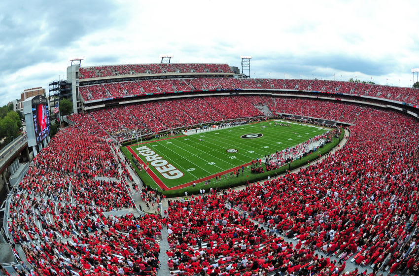 ATHENS, GA - OCTOBER 15: Sanford Stadium during the Georgia Bulldog football game between the Bulldogs and the Vanderbilt Commodores on October 15, 2016 in Athens, Georgia. (Photo by Scott Cunningham/Getty Images)