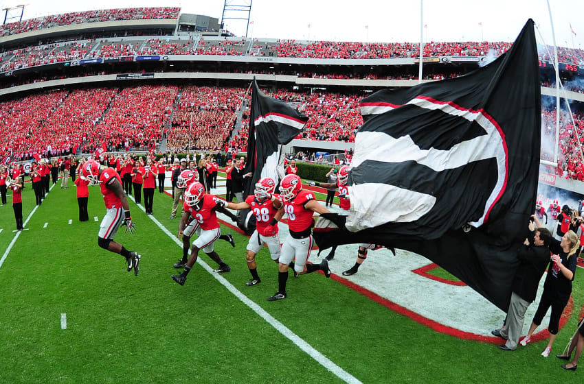 ATHENS, GA - OCTOBER 15: Members of the Georgia Bulldogs take the field before the game against the Vanderbilt Commodores at Sanford Stadium on October 15, 2016 in Athens, Georgia. (Photo by Scott Cunningham/Getty Images)