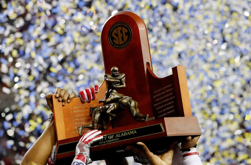 ATLANTA, GA - DECEMBER 03: The Alabama Crimson Tide celebrate their 54 to 16 win over the Florida Gators in the SEC Championship game at the Georgia Dome on December 3, 2016 in Atlanta, Georgia. (Photo by Kevin C. Cox/Getty Images)