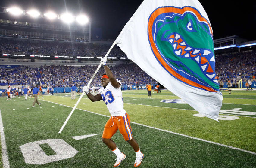LEXINGTON, KY - SEPTEMBER 23: Chauncey Gardner Jr #23 of the Florida Gators celebrates after the 28-27 win over the Kentucky Wildcats at Kroger Field on September 23, 2017 in Lexington, Kentucky. (Photo by Andy Lyons/Getty Images)