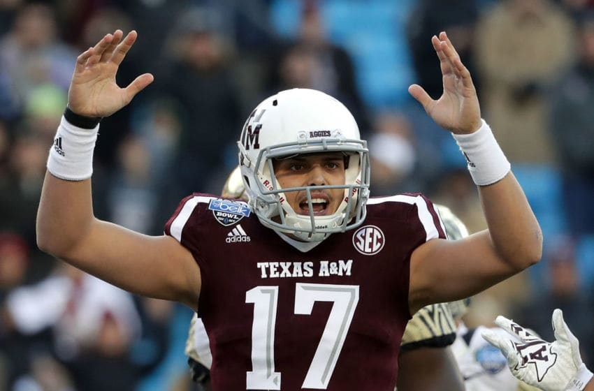 CHARLOTTE, NC - DECEMBER 29: Nick Starkel #17 of the Texas A&M football Aggies reacts after a play against the Wake Forest Demon Deacons during the Belk Bowl at Bank of America Stadium on December 29, 2017 in Charlotte, North Carolina. (Photo by Streeter Lecka/Getty Images)