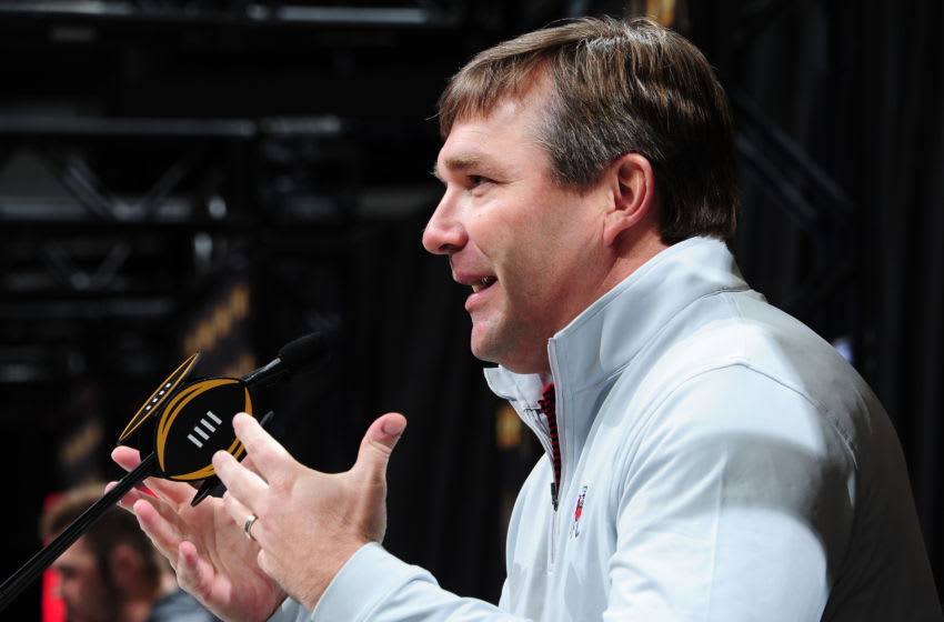 ATLANTA, GA - JANUARY 6: Head Georgia football Coach Kirby Smart of the Georgia Bulldogs speaks to the media during the College Football Playoff National Championship Media Day at Philips Arena on January 6, 2018 in Atlanta, Georgia. (Photo by Scott Cunningham/Getty Images)