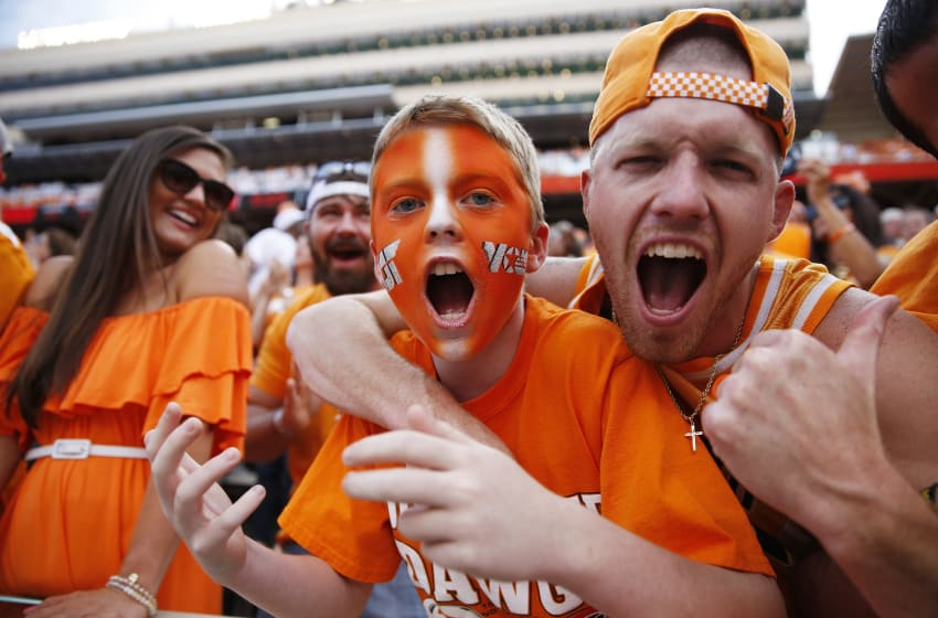 KNOXVILLE, TN - SEPTEMBER 30: Tennessee football fans cheer in the first quarter of a game against the Georgia Bulldogs at Neyland Stadium on September 30, 2017 in Knoxville, Tennessee. (Photo by Joe Robbins/Getty Images)