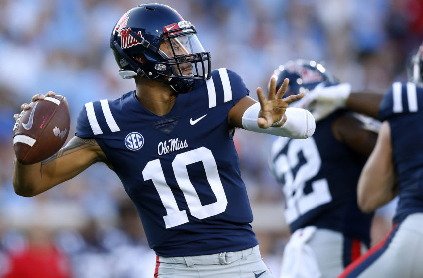 OXFORD, MS - SEPTEMBER 15: Jordan Ta'amu #10 of the Mississippi Rebels throws the ball during the first half against the Alabama Crimson Tide at Vaught-Hemingway Stadium on September 15, 2018 in Oxford, Mississippi. (Photo by Jonathan Bachman/Getty Images)