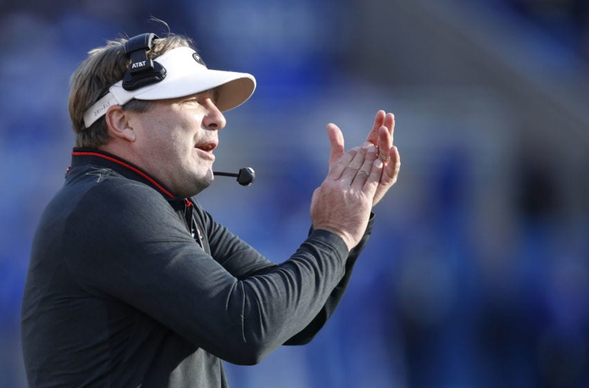 LEXINGTON, KY - NOVEMBER 03: Head Georgia football coach Kirby Smart of the Georgia Bulldogs reacts in the first quarter of the game against the Kentucky Wildcats at Kroger Field on November 3, 2018 in Lexington, Kentucky. (Photo by Joe Robbins/Getty Images)