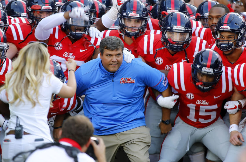 OXFORD, MS - SEPTEMBER 02: Head coach Matt Luke of the Mississippi Rebels takes the field before a game against the South Alabama Jaguars at Vaught-Hemingway Stadium on September 2, 2017 in Oxford, Mississippi. (Photo by Jonathan Bachman/Getty Images)