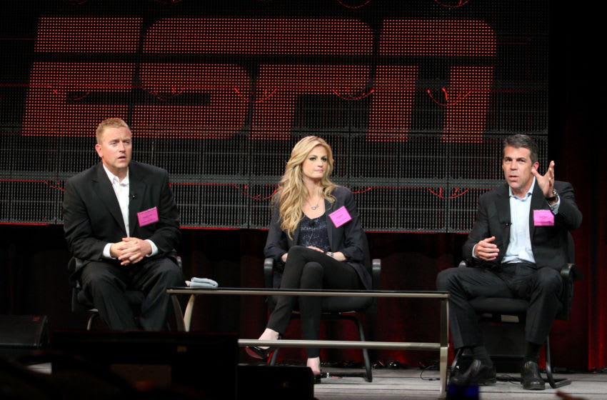 Broadcasters Kirk Herbstreit, Erin Andrews and Chris Fowler (Photo by Frederick M. Brown/Getty Images)