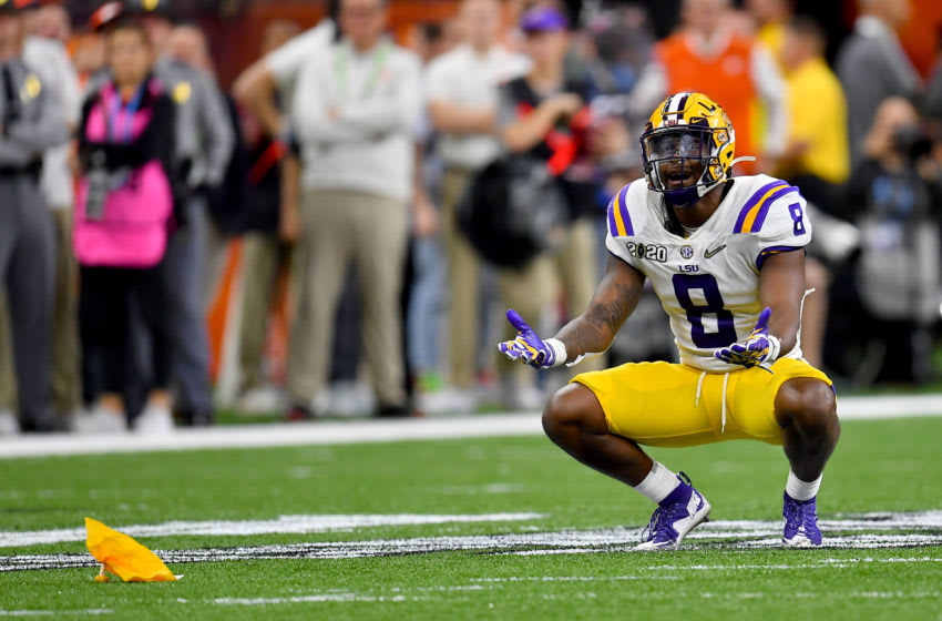 Patrick Queen #8 of the LSU Tigers Tigers, 42-25. (Photo by Alika Jenner/Getty Images)