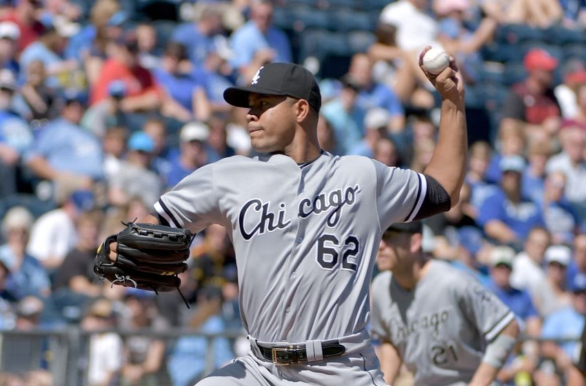 Sep 18, 2016; Kansas City, MO, USA; Chicago White Sox starting pitcher Jose Quintana (62) delivers a pitch in the first inning against the Kansas City Royals at Kauffman Stadium. Mandatory Credit: Denny Medley-USA TODAY Sports