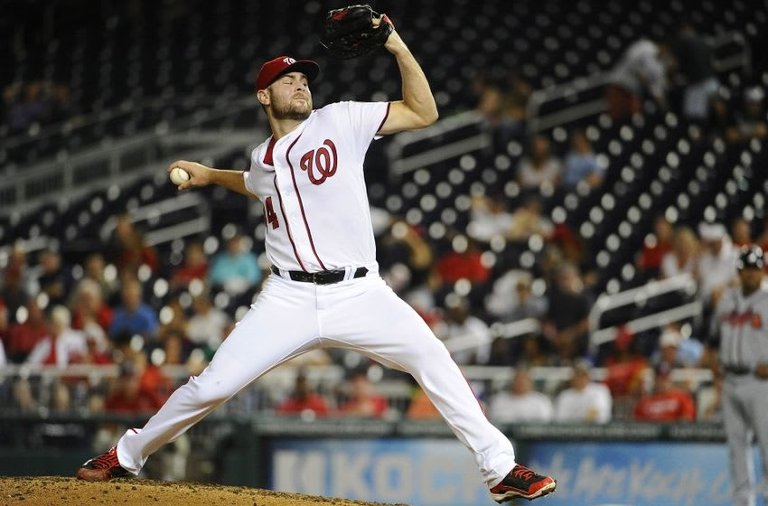 Sep 7, 2016; Washington, DC, USA; Washington Nationals starting pitcher Lucas Giolito (44) throws against the Atlanta Braves during the fifth inning at Nationals Park. Mandatory Credit: Brad Mills-USA TODAY Sports