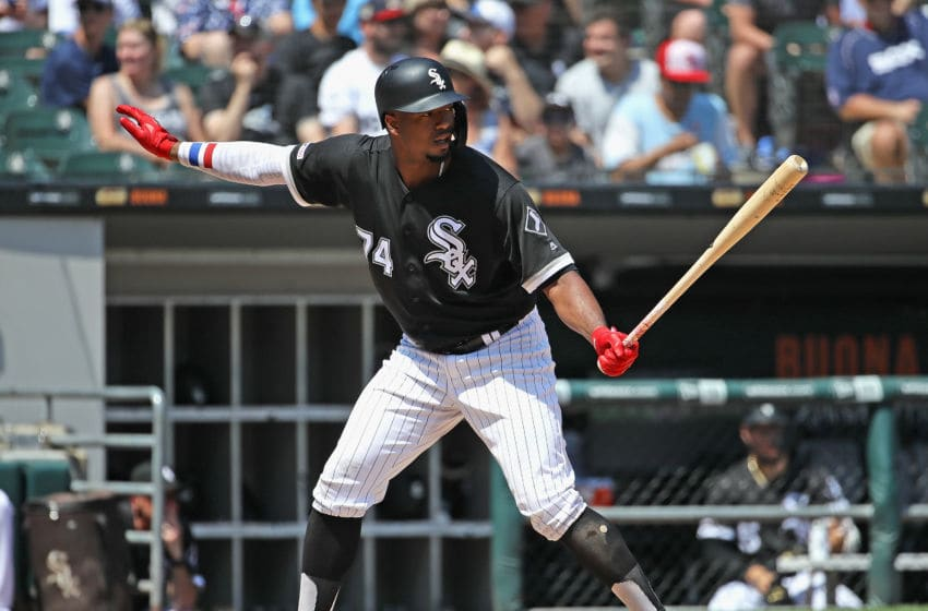 CHICAGO, ILLINOIS - JULY 03: Eloy Jimenez #74 of the Chicago White Sox bats against the Detroit Tigers at Guaranteed Rate Field on July 03, 2019 in Chicago, Illinois. The White Sox defeated the Tigers 7-5. (Photo by Jonathan Daniel/Getty Images)