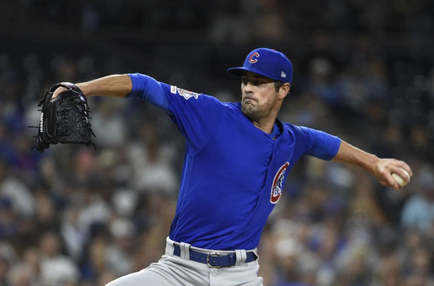 SAN DIEGO, CA - SEPTEMBER 11: Cole Hamels #35 of the Chicago Cubs pitches during the second inning of a baseball game against the San Diego Padres at Petco Park on September 11, 2019 in San Diego, California. (Photo by Denis Poroy/Getty Images)