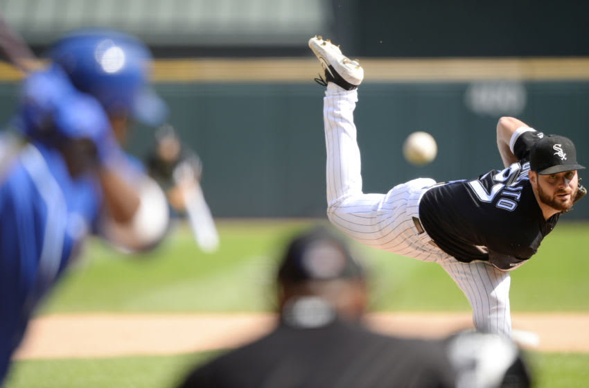 CHICAGO - SEPTEMBER 12: Lucas Giolito #27 of the Chicago White Sox pitches against the Kansas City Royals on September 12, 2019 at Guaranteed Rate Field in Chicago, Illinois. (Photo by Ron Vesely/MLB Photos via Getty Images)