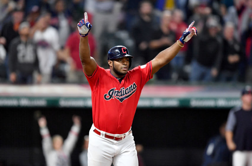 CLEVELAND, OHIO - SEPTEMBER 18: Yasiel Puig #66 of the Cleveland Indians celebrates after hitting a walk-off RBI single to deep right during the tenth inning against the Detroit Tigers at Progressive Field on September 18, 2019 in Cleveland, Ohio. The Indians defeated the Tigers 2-1 in ten innings. (Photo by Jason Miller/Getty Images)