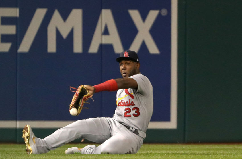 WASHINGTON, DC - OCTOBER 14: Marcell Ozuna #23 of the St. Louis Cardinals fails to make the catch on an RBI double by Anthony Rendon #6 of the Washington Nationals in the third inning of game three of the National League Championship Series at Nationals Park on October 14, 2019 in Washington, DC. (Photo by Patrick Smith/Getty Images)