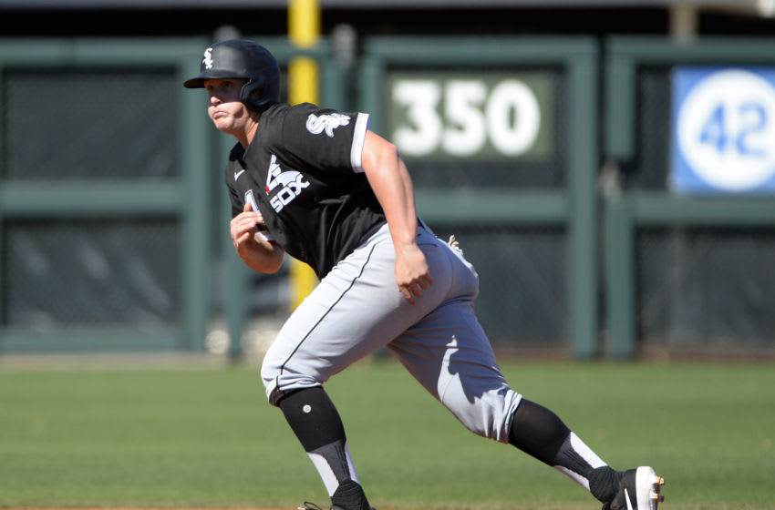 SUPRISE, ARIZONA - FEBRUARY 26: Andrew Vaughn #94 of the Chicago White Sox runs the bases during a spring training game against the Kansas City Royals on February 26, 2020 at Surprise Stadium in Surprise, Arizona. (Photo by Ron Vesely/Getty Images)