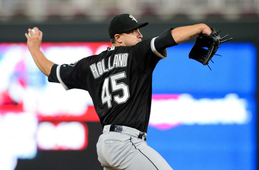 MINNEAPOLIS, MN - AUGUST 30: Derek Holland #45 of the Chicago White Sox delivers a pitch against the Minnesota Twins during the game on August 30, 2017 at Target Field in Minneapolis, Minnesota. The Twins defeated the White Sox 11-1. (Photo by Hannah Foslien/Getty Images)