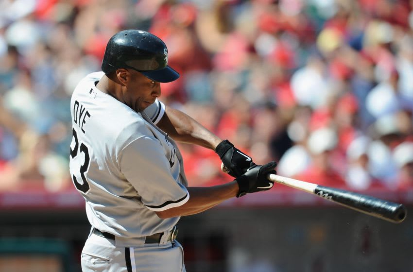 ANAHEIM, CA - SEPTEMBER 13: Jermaine Dye #23 of the Chicago White Sox at bat against the Los Angeles Angels of Anaheim at Angel Stadium of Anaheim on September 13, 2009 in Anaheim, California. (Photo by Lisa Blumenfeld/Getty Images)