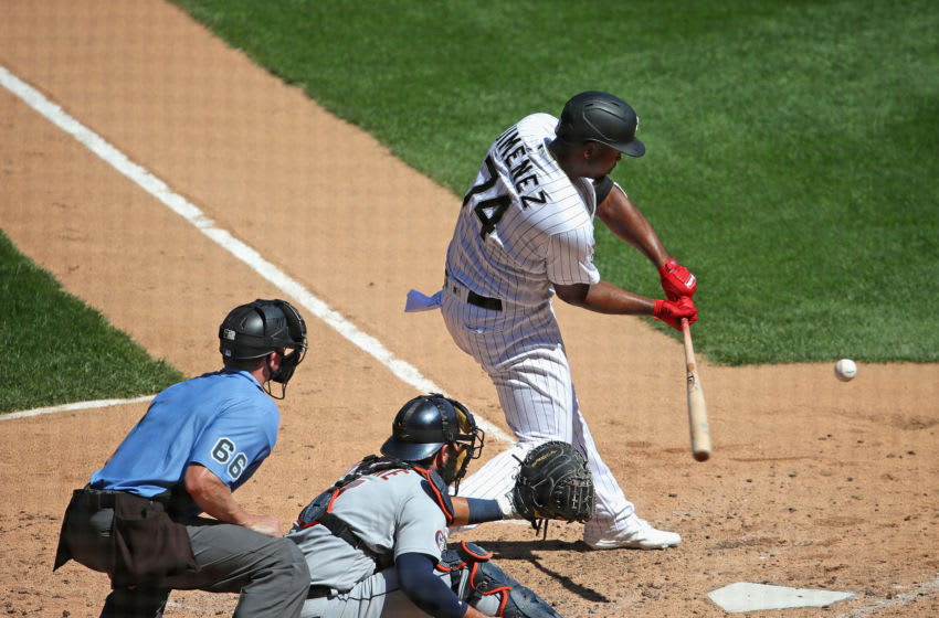 CHICAGO, ILLINOIS - AUGUST 20: Eloy Jimenez #74 of the Chicago White Sox hits a single in the 4th inning against the Detroit Tigers at Guaranteed Rate Field on August 20, 2020 in Chicago, Illinois. (Photo by Jonathan Daniel/Getty Images)