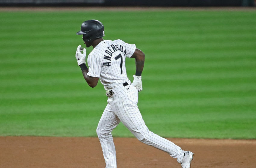 CHICAGO, ILLINOIS - SEPTEMBER 15: Tim Anderson #7 of the Chicago White Sox runs the bases after hitting a solo home run in the 6th inning against the Minnesota Twins at Guaranteed Rate Field on September 15, 2020 in Chicago, Illinois. (Photo by Jonathan Daniel/Getty Images)