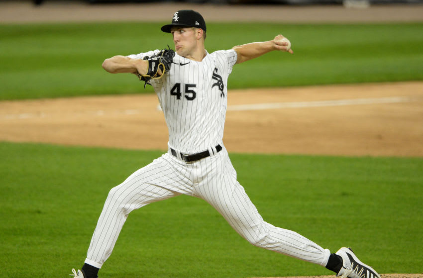 CHICAGO - SEPTEMBER 26: Garrett Crochet #45 of the Chicago White Sox pitches against the Chicago Cubs on September 26, 2020 at Guaranteed Rate Field in Chicago, Illinois. (Photo by Ron Vesely/Getty Images)