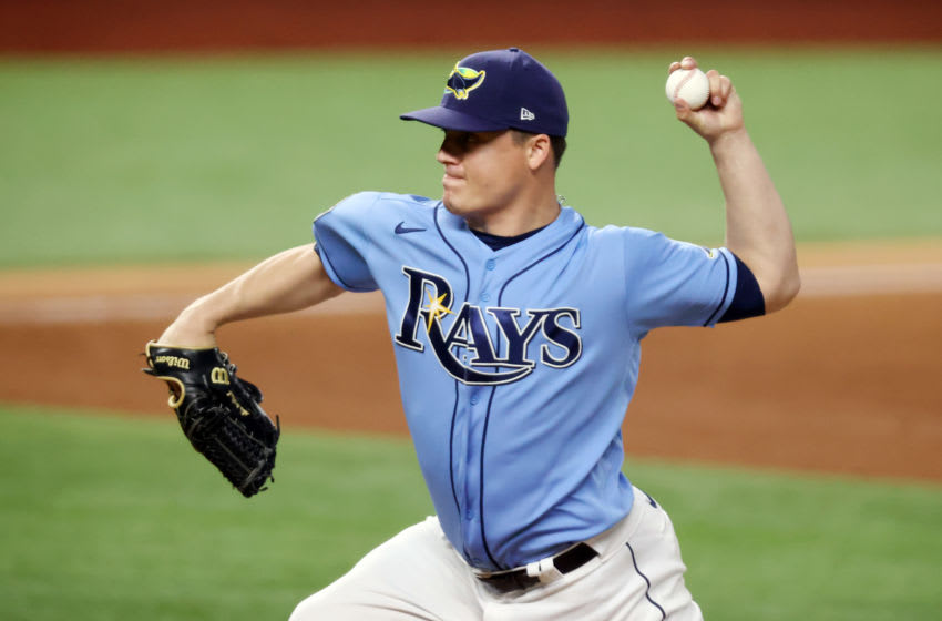 ARLINGTON, TEXAS - OCTOBER 25: Aaron Loup #15 of the Tampa Bay Rays delivers the pitch against the Los Angeles Dodgers during the sixth inning in Game Five of the 2020 MLB World Series at Globe Life Field on October 25, 2020 in Arlington, Texas. (Photo by Tom Pennington/Getty Images)