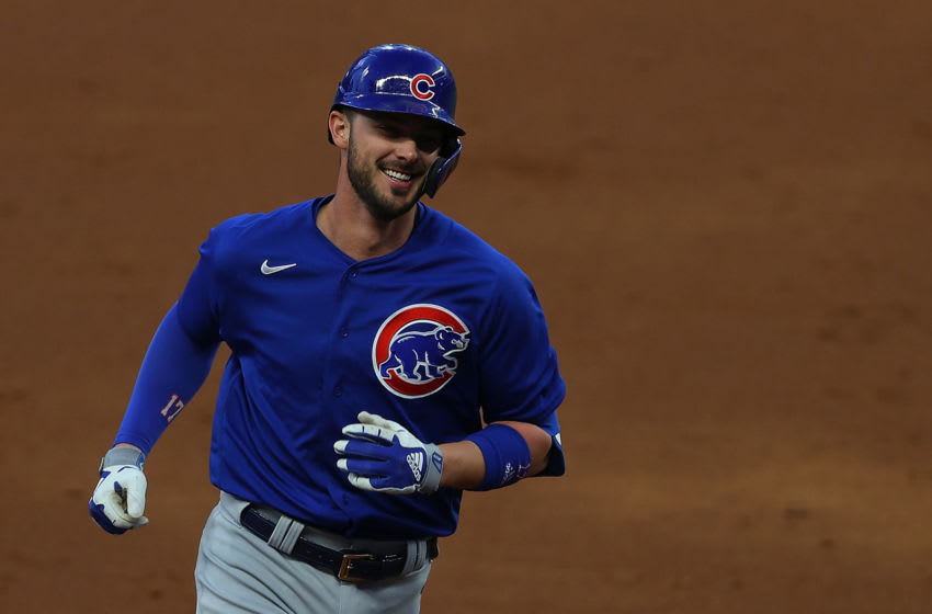 ATLANTA, GEORGIA - APRIL 26: Kris Bryant #17 of the Chicago Cubs rounds third base after hitting a grand slam in the third inning against the Atlanta Braves at Truist Park on April 26, 2021 in Atlanta, Georgia. (Photo by Kevin C. Cox/Getty Images)