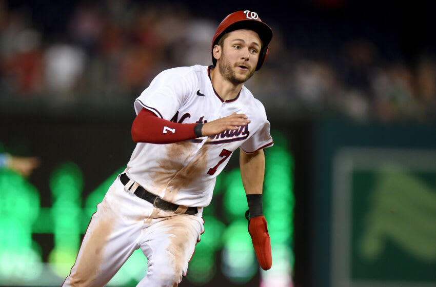 WASHINGTON, DC - JULY 20: Trea Turner #7 of the Washington Nationals runs the bases against the Miami Marlins at Nationals Park on July 20, 2021 in Washington, DC. (Photo by G Fiume/Getty Images)