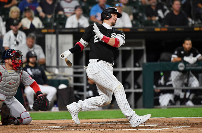 CHICAGO, IL - SEPTEMBER 10: Yasmani Grandal #24 of the Chicago White Sox bats against the Boston Red Sox at Guaranteed Rate Field on September 10, 2021 in Chicago, Illinois. (Photo by Jamie Sabau/Getty Images)