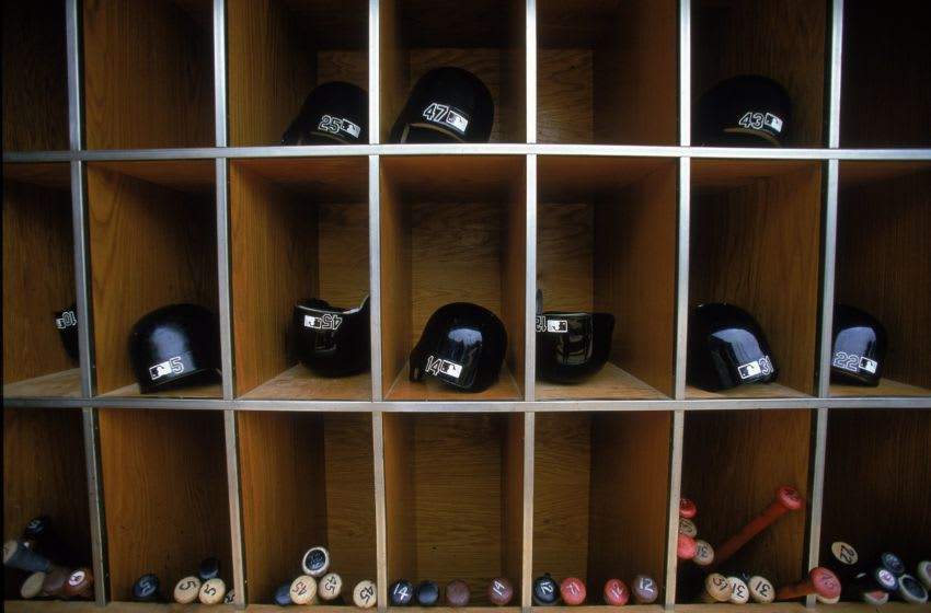 26 Jul 2000: A general view of the storage units for the hats and the bats during the game between the Chicago White Sox and the Kansas City Royals at Comiskey Park in Chicago, Illinios. The Royals defeated the White Sox 7-6.Mandatory Credit: Donald Miralle /Allsport